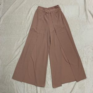 Tan Square Slit Pants